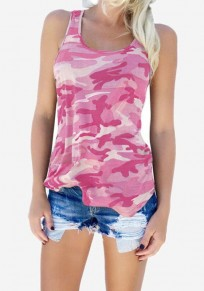Pink-White Camouflage Print Comfy U-neck Sleeveless Casual Vest