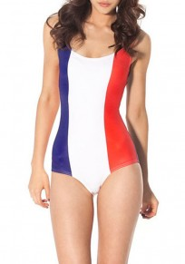White Striped Backless Round Neck Slim Thin Swimwear