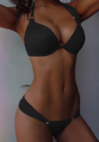 Black 2-in-1 Spaghetti Strap Halter Neck Bikini Swimwear