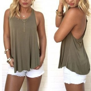 Light Green Cut Out Draped Backless Round Neck Casual Vest