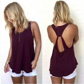 Burgundy Cut Out Draped Backless Round Neck Casual Vest