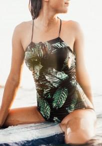 Black Leaf Print Condole Belt Cross Back Backless Slim One Piece Swimwear