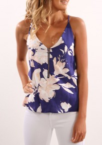 Blue-White Flowers Spaghetti Strap Zipper Deep V-neck Vest