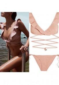 Maillot de bain manches volantées à rayures en v-col profond bikini à dos nu pièces rose-blanc