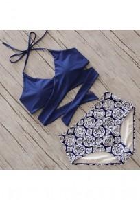 Blue Patchwork Condole Belt 2-in-1 Tie Back Fashion Swimwear
