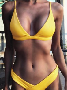 Yellow 2-in-1 Irregular Deep V-neck Fashion Slim Bikini Swimwear