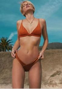Orange 2-in-1 Unregelmäßige tiefe V-Ausschnitt Mode Schlank Bikini Bademode