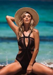 Maillots de bain grenade recouvert de bikini à taille haute noir