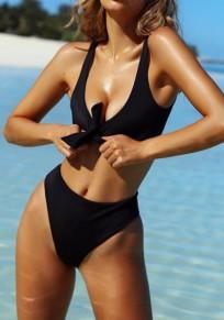 Schwarze Schleife ausene tiefe Ausschnitt-Ärmellos Badebekleidung