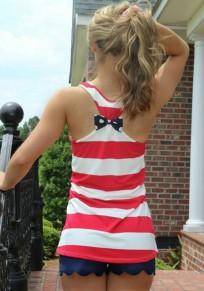 White Striped Irregular Bow Sleeveless Round Neck Vest