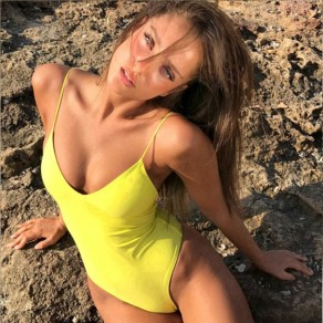Yellow Tie Back Cross Back Deep V Backless Bikini Swimwear