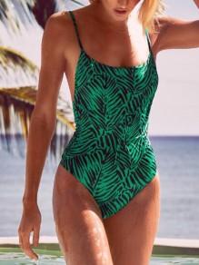 Green Leaf Print Open Back Spaghetti Strap One Piece Bikini Swimwear