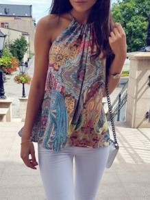 Multicolor Floral Draped Halter Neck Round Neck Vest