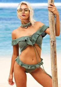 Grey Green Irregular 2-in-1 Bandeau Off-Shoulder Backless Swimwear