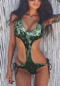 Green Sequin Lace-up Backless Cut Out Deep V-neck Spaghetti Strap Bodysuit Swimwear