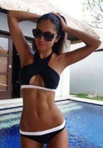 Schwarz Weiße Gestreiften Neckholder Cut Out Rückenfreies Push Up Strand Damen Bikini Set Bademode Beiläufige