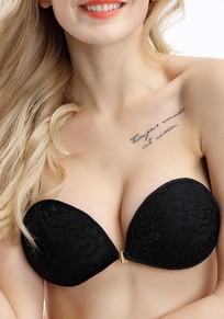 Soutien gorge adhésif invisible en dentelle push up brassiere sexy femme noir