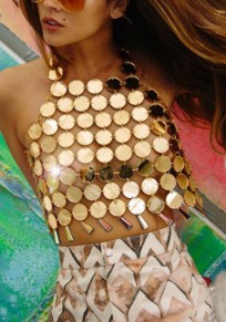 Golden Sequin Top Tassel Open Back Halter Neck Club Vest