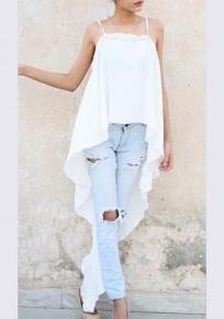 White Condole Belt Irregular Backless Draped Fashion Vest