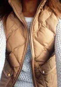 Khaki Patchwork Pockets Zipper Band Collar Casual Vest