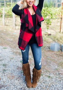 Red-Black Plaid Print Pockets Irregular Turndown Collar Christmas NYE Fall Cardigan Vest