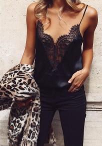 Débardeur avec dentelle bretelle décolleté plongeant v-cou sexy caraco femme top noir