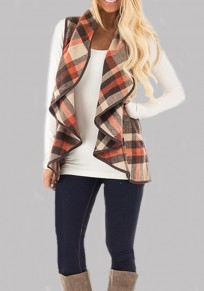 Coffee Plaid Print Pockets Ruffle Turndown Collar Fashion Cardigan Vest