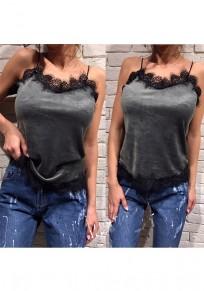 Grey Lace Patchwork Belt Sleeveless Fashion Vest