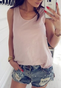 Pink Patchwork Lace Cut Out Round Neck Sweet Vest