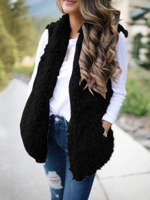 Black Fuzzy Teddy Fur Lambswool Pockets Hooded Fashion Cardigan Vest