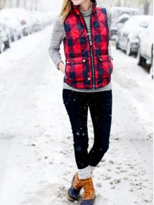 Red Plaid Buffalo Zipper Pockets Turndown Collar Casual Cute Parka Vest