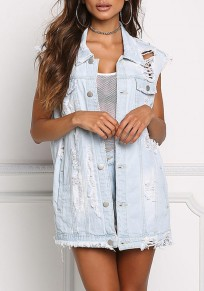Light Blue Irregular Turndown Collar Ripped Denim Outwear Vest