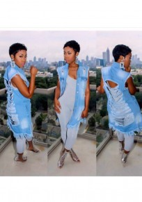 Light Blue Irregular Ripped Turndown Collar Fashion Coat Vest