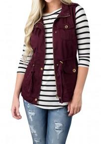 Burgundy Buttons Pockets Drawstring Zipper Christmas Band Collar Fashion Vest