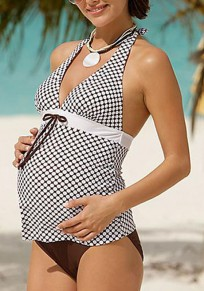 Brown Patchwork Plaid 2-in-1 Halter Neck Backless Maternity Swimwear