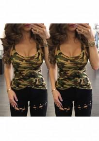 Armee-Grün Camouflage U-Ausschnitt Beiläufige Tanktop T-shirt Damen Oberteil Günstig