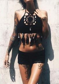 Maillot de bain en crochet frange licou 2 pièces femme boho bikini noir