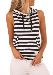 Black-White Striped Print Drawstring Pockets Hooded Casual Vest