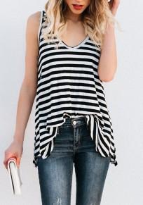 Black White Striped Print V-neck Fashion Vest