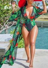 Grünes Palmblatt Drucken Spitze up tiefem V-Ausschnitt zweiteilige Mantel Strandwear Bademode