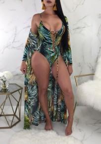 Green Palm Leaf Print Drawstring Lace up Cloak Two Piece Beachwear Bohemian Swimwear