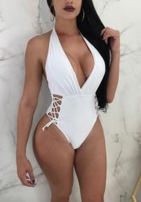 White Drawstring Lace-up One Piece Halter Neck Backless Deep V-neck Beachwear Swimwear