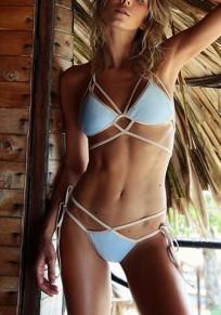 Sky Blue Cut Out Lace-up Two Piece Deep V-neck Beachwear Bikini Swimwear