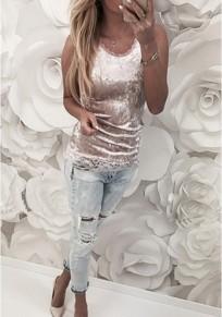 Pink Patchwork Lace Condole Belt Round Neck Fashion Vest