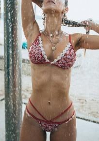 Rotes Blumendruck Ausgefallene Spitze 2 Teiliges Spaghettiträger Push Up Mode Bademode Damen Bikini Günstig