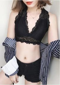 Schwarz Flickwerk Spitze Rückenfrei V-Ausschnitt Mode Weste