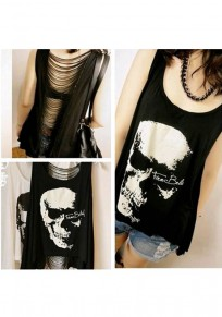 Black Skull Cut Out Irregular Round Neck Fashion Vest