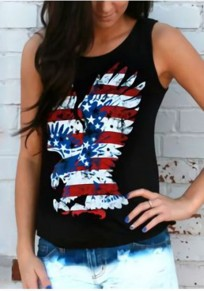 Black The Stars And Stripes Eagle Print American Flag Independence Day Casual Vest