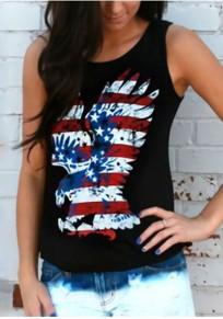 Schwarz Die Stars And Stripes Eagle Drucken Amerikanische Flagge Unabhängigkeitstag Beiläufig Weste