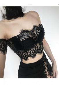 Black Floral Lace Cut Out Crop Fashion Vest